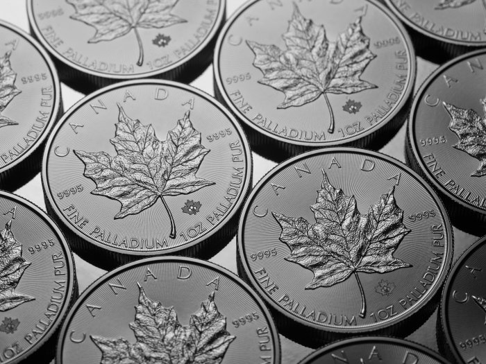 A Display of Palladium Coins Canada Has Minted