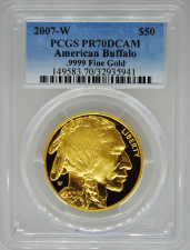 2007-W PCGS PR70 Proof Gold Buffalo $50