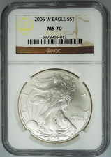 2006-W NGC MS70 Burnished Silver Eagle