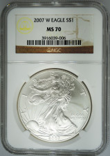 2007-W NGC MS70 Burnished Silver Eagle