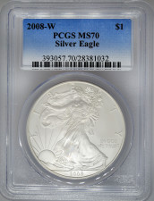 2008-W PCGS MS70 Burnished Silver Eagle