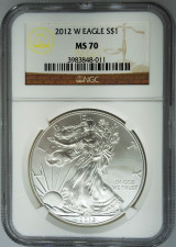 2012-W NGC MS70 Burnished Silver Eagle