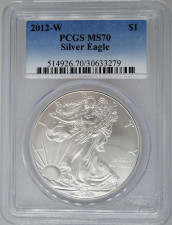 2012-W PCGS MS70 Burnished Silver Eagle
