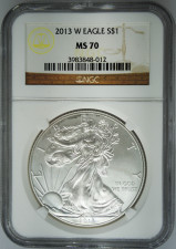 2013-W NGC MS70 Burnished Silver Eagle