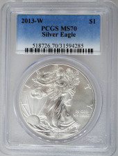 2013-W PCGS MS70 Burnished Silver Eagle