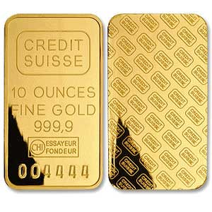 10 oz .9999 Credit Suisse Gold Bar