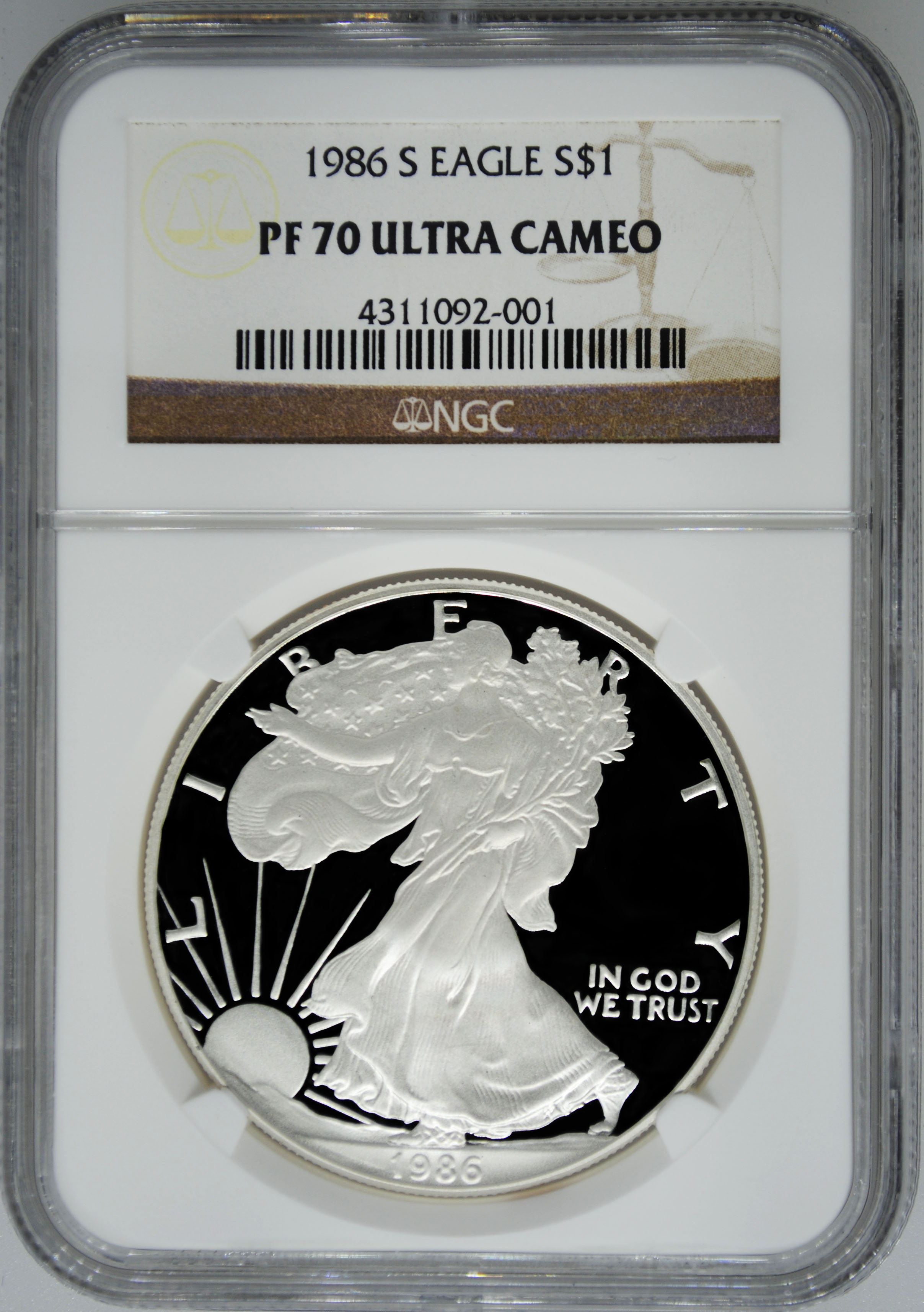 1986 S Ngc Pf70 Ultra Cameo Proof Silver Eagle