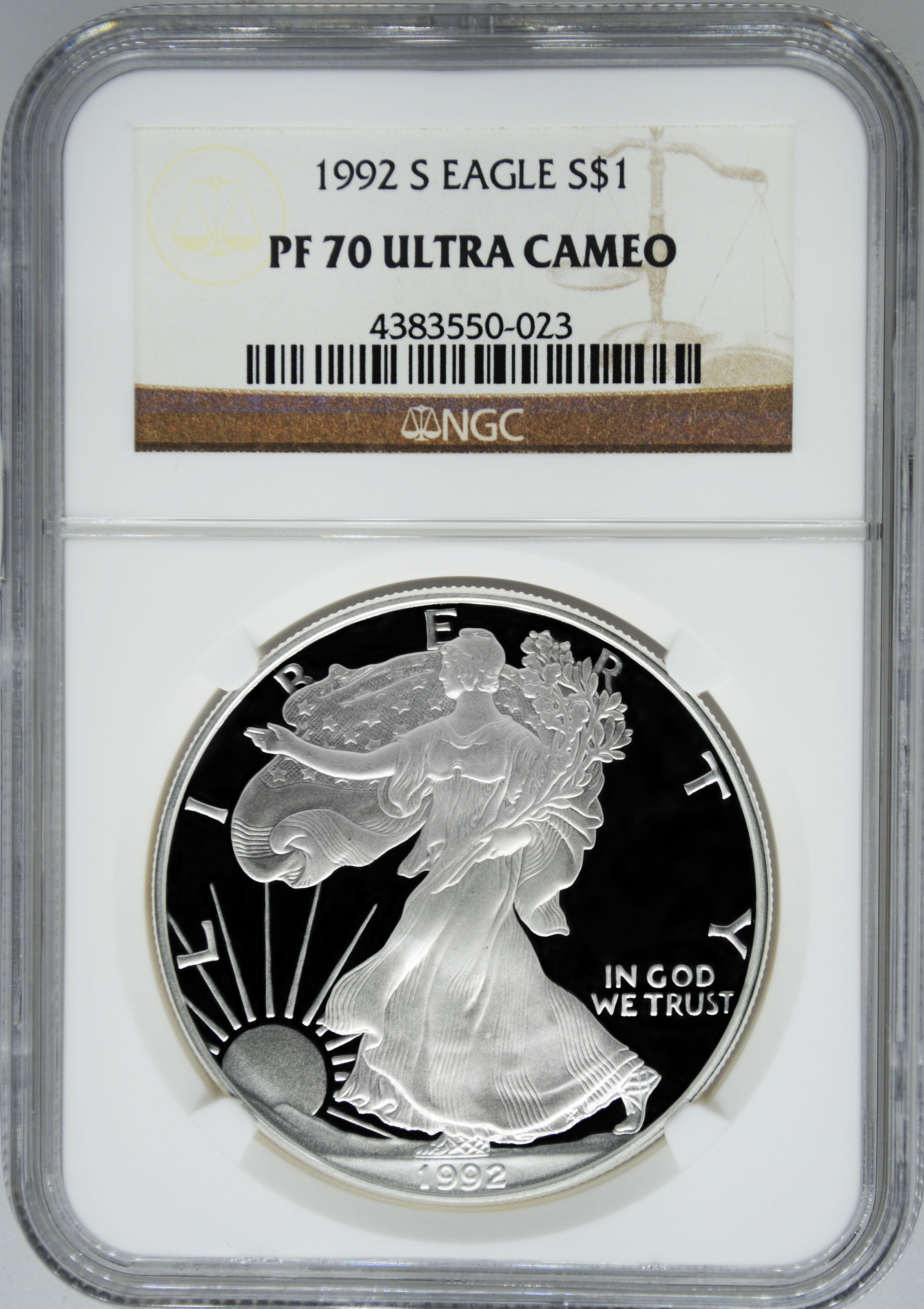 1992 S Ngc Pf70 Ultra Cameo Proof Silver Eagle