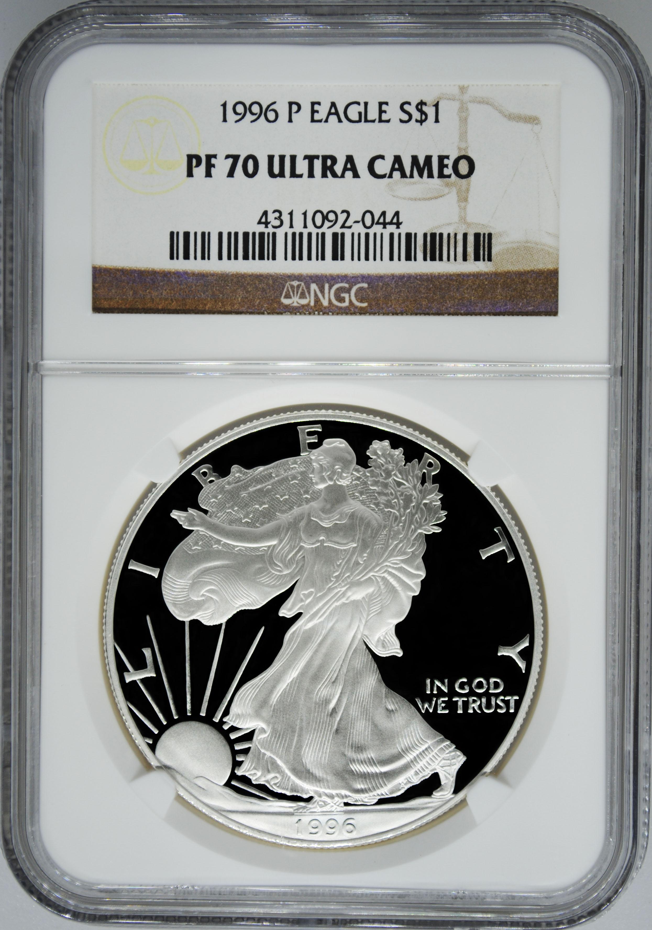 1996 P Ngc Pf70 Ultra Cameo Proof Silver Eagle