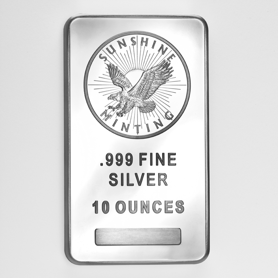 10 Oz 999 Sunshine Silver Bar Enterprise Bullion